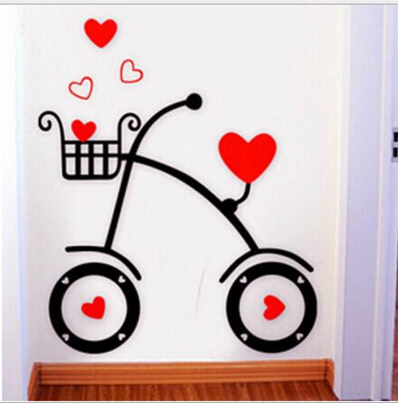 Bicycle 3d Acrylic Crystal Embossed Wall Stickers - Buyvel