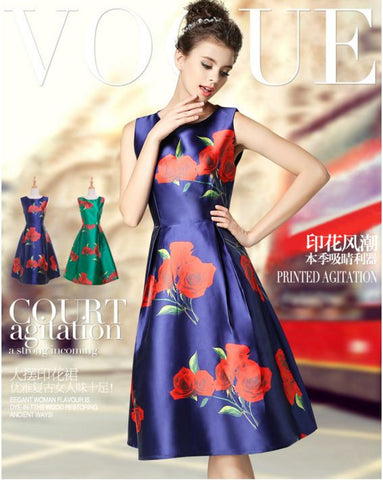 Big Flower Party Wear Satin Silk Dress BLUE Dresses- Available online on Buyvel