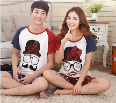 Couple Night Suit - Moutache Couple Night Suit- Buyvel