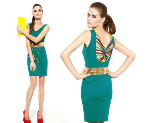 Fashion Vintage Sleeveless Mini Dress With Belt Dresses- Available online on Buyvel
