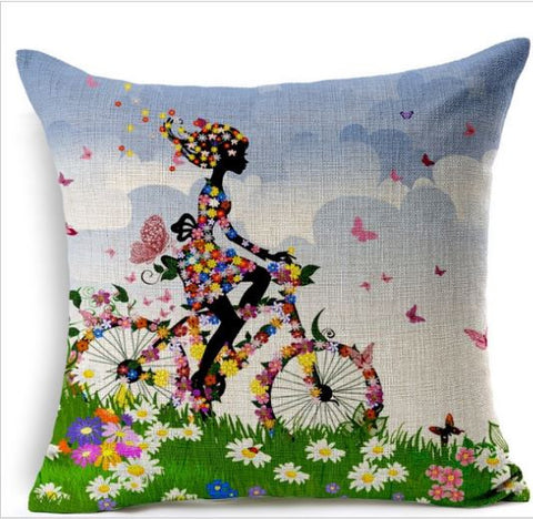 Vintage Highlighter Cushion Covers Cotton Linen Girl Print 45cmx45cm - Buyvel