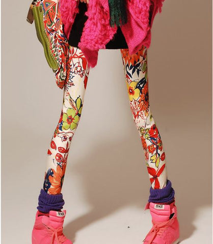 Stretchable Milk Silk Flower Printed Leggings Leggings & Jeggings- Available online on Buyvel