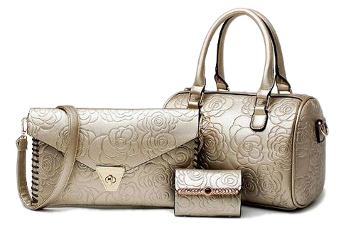 Engrave Floral 3 Set Of Bag Golden Set Bags- Available online on Buyvel