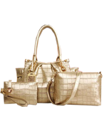 Elegant 3 Color Crocodile Check Shiny Set Bag Shiney Creamy Set Bags- Available online on Buyvel