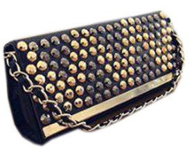 Rivetted Party Clutch Black Wallets & Clutches- Available online on Buyvel