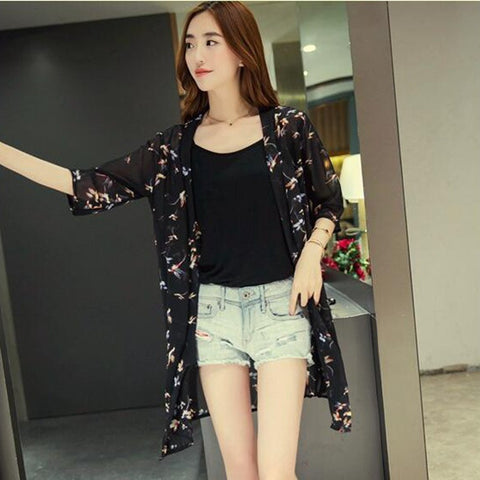 Netted Birds Print Shrug New Style Stretchable Front Open Shrugs & Summer Jackets- Buyvel