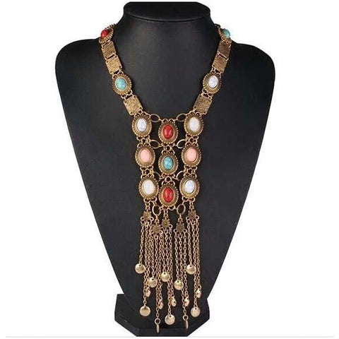 Bohemia women chic maxi necklaces long chains tassel pendant buyvel bohemia women chic maxi necklaces long chains tassel pendant accessories available online on buyvel mozeypictures Image collections