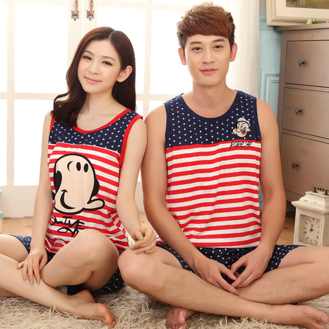 Couple Night Suit Sets For Women Men Comfortable Sleepwear Suit Striped Top Polka Dot Pant