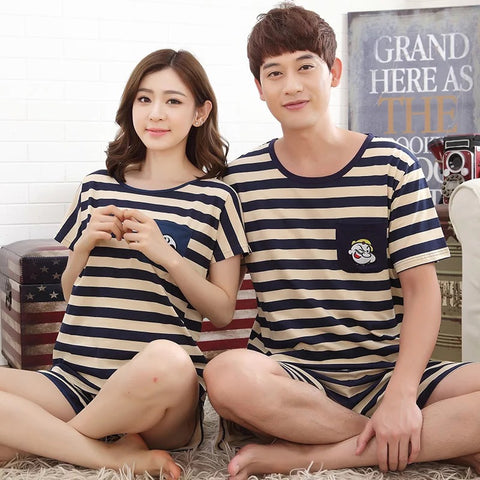 Couple Pajamas Cotton Summer Men And Women Sleep wear Night dress Couple Nightdress