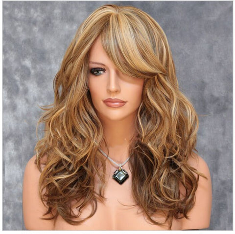 Blonde Curly hair wig European and American fashion Hair Extensions & Wigs- Buyvel