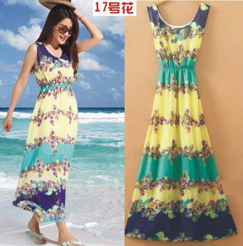 Floral TriColor Delight Beach Boho Gown so chic so classy Dresses- Available online on Buyvel