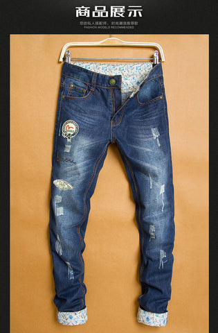Evisu Japanese straight fit Less distress rubber print Jeans