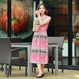 Pink Inked Abstract Elastic Ice Silk Beach Maxi Dress Dresses- Available online on Buyvel