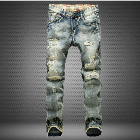 Stone wash distress blue straight jeans Jeans- Available online on Buyvel