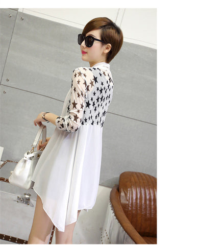 Netted Star Print Shrug New Style Stretchable Front Open Shrugs & Summer Jackets- Buyvel