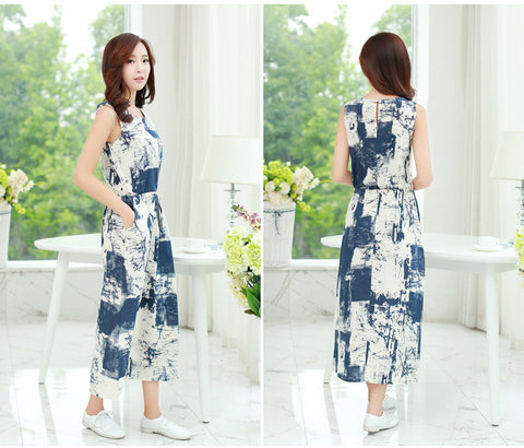 Abstract Inked Dress Blue