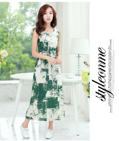 Abstract Inked Dress Green