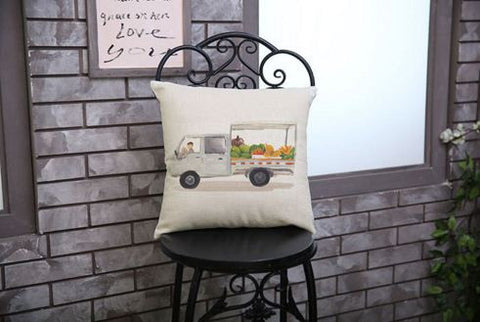 Van Highlighted Tress Books  Fruits Cotton Linen Cushion Covers 45cmX45cm Cushions & Covers- Buyvel