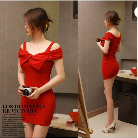 Designer Neck Bowknot Short Dress