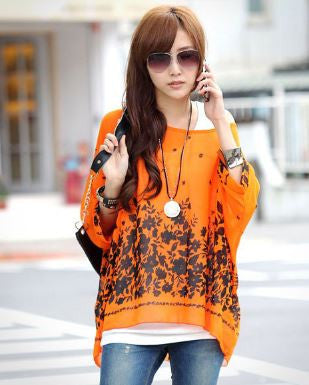 Black Flower Orange Kaftan Tops, Tees & Shirts- Buyvel