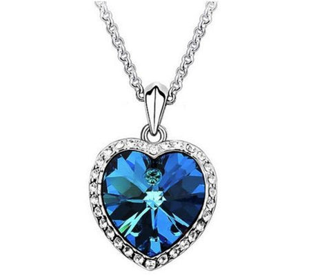 Titanic Blue Artificial Stone Neckpiece with Silver Chain and Rhinestones Necklace & Pendants- Buyvel