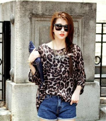 Black Full Sleeves Leopard Kaftan Tops, Tees & Shirts- Buyvel