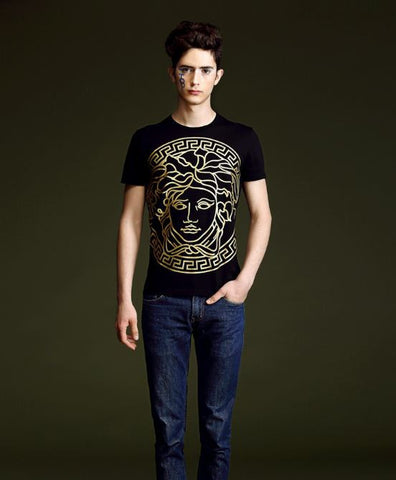 Men's Short sleeve Cotton T shirt with Golden print Tops, Tees & Shirts- Buyvel