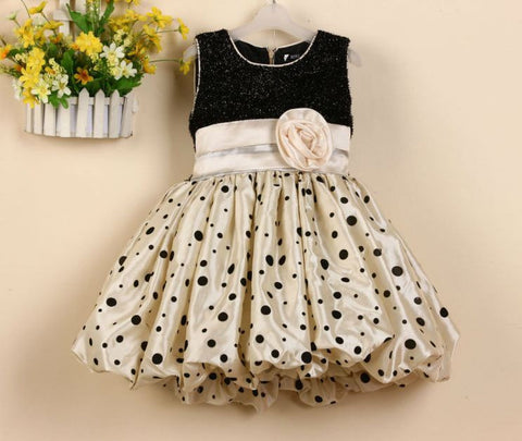 Apricot Color Balloon Style Party Wear Dress Kids Dress- Buyvel