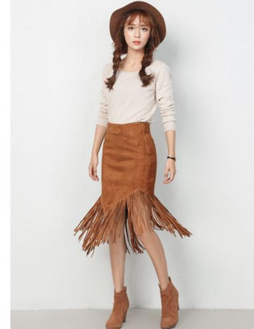 Fringed Suede High Low Midi Skirt Shorts & skirts- Buyvel