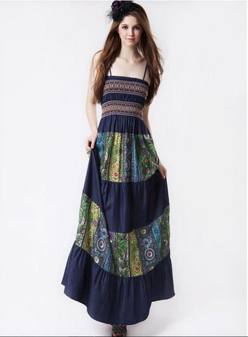 DenimLook Boho Printed Gown Dresses- Available online on Buyvel