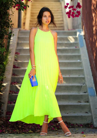 Green Frill Fluorescent Gown Dresses- Available online on Buyvel