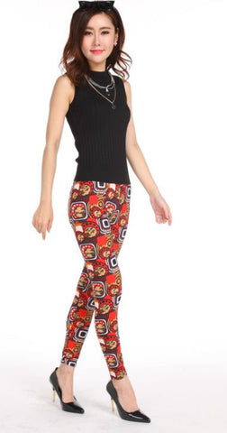 Modernization Red Black Printed Leggings Leggings & Jeggings- Available online on Buyvel