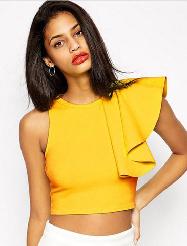Frill Crop Top Yellow Tops, Tees & Shirts- Available online on Buyvel
