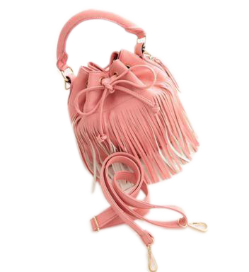 Ladies Fringes Tassel Shoulder Crossbody Handbag new Peach Handbags- Available online on Buyvel