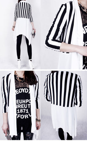 Netted White Striped Shrug New Style Stretchable Front Open Shrugs & Summer Jackets- Available online on Buyvel