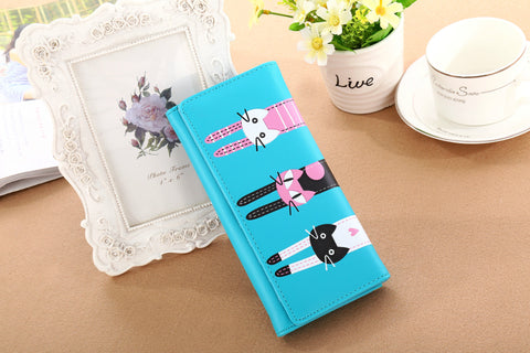 Cat Wallet Blue Wallets & Clutches- Buyvel