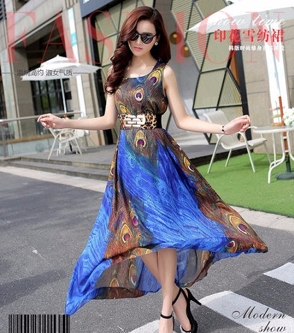 Peacock Print Long Designer Gown With Belt Blue Dresses- Available online on Buyvel