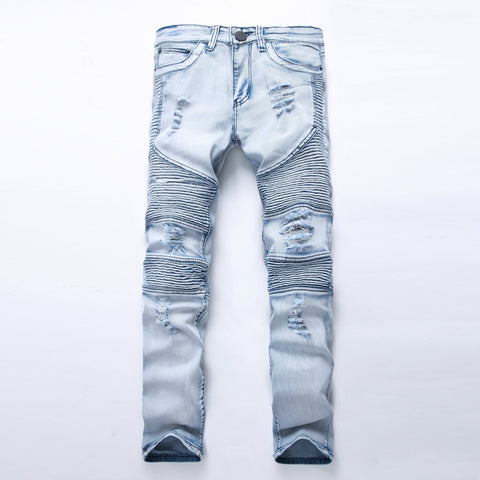 Bikers jeans motorcycle tide ripples distress Jeans Jeans- Available online on Buyvel