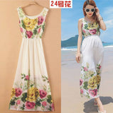 Pink yellow flowers on white classy bohemian maxi dress Dresses- Available online on Buyvel