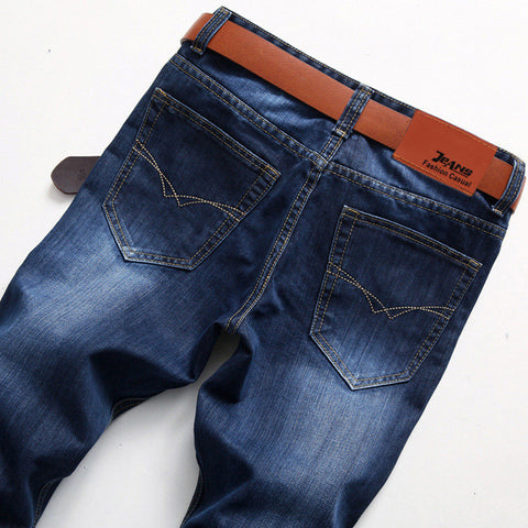 Dark Blue business casual straight fit Jeans Jeans- Available online on Buyvel