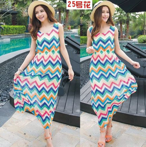 Aztec print Wavy Summer dress - Buyvel