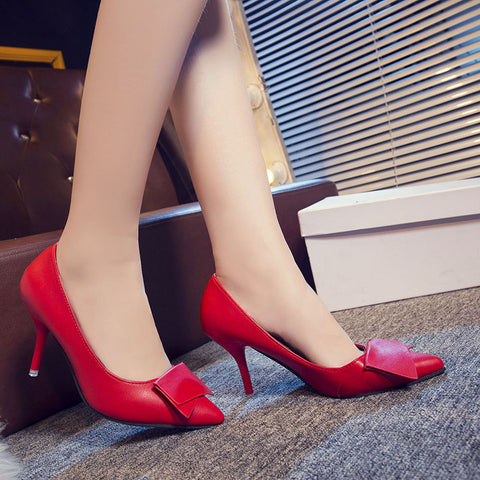 European Red Pencil Heels Women's Footwear- Available online on Buyvel