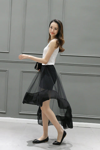 High Low Asymmetrical Net Skirt Shorts & skirts- Available online on Buyvel