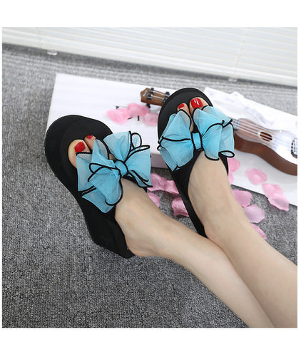 Sandy beaches Thick Bow Sandals for Female - Blue Women's Sandals- Available online on Buyvel