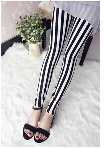 Stretchable Milk Silk Black n White Striped Leggings Leggings & Jeggings- Available online on Buyvel