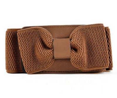Stretchable Classy Brown Bow Belt with button on Back Women's Belts- Buyvel