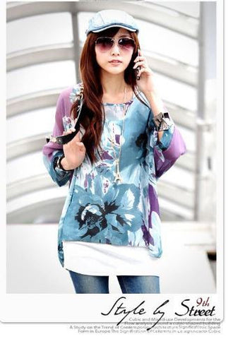 Flower Blossum Purple Full Sleeves Kaftan Tops, Tees & Shirts- Available online on Buyvel