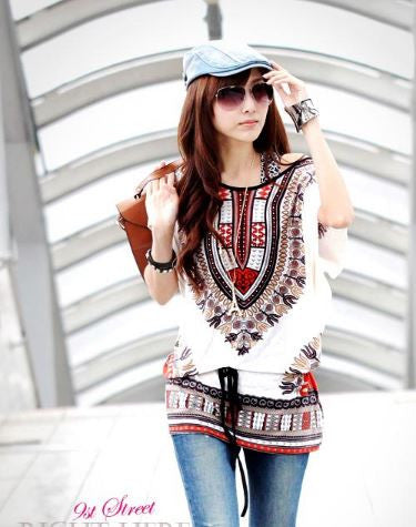 BOHO White Long Top With Lycra Belt Tops, Tees & Shirts- Buyvel