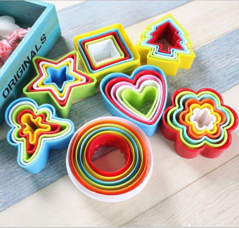 DIY plastic cut fruit biscuit mold/ cake cookie cutter 38 pieces Baking Tools- Buyvel