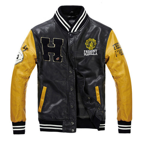 Baseball Leather Jacket College Jaqueta Couro Men's Winter Wear- Buyvel